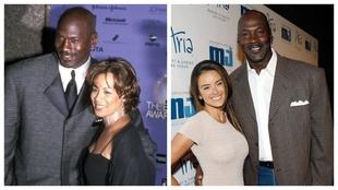 Michael Jordan posa con su exmujer Juanita Vanoy (izquierda) y su...