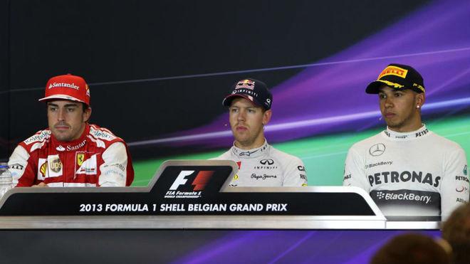 Alonso, Vettel y Hamilton, en 2013.