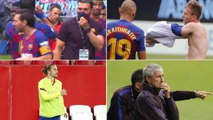 Messi con Sarabia, Arthur, Griezmann y Setién
