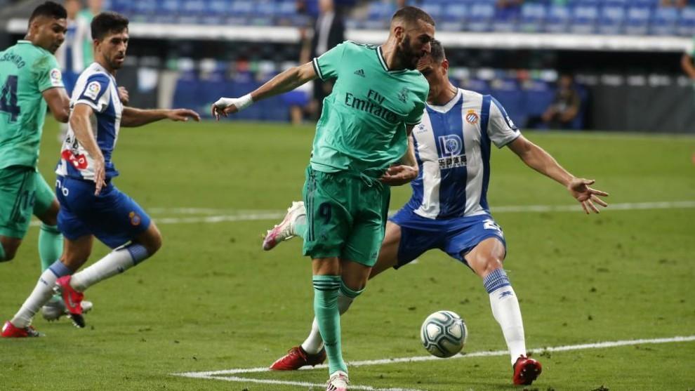 El taconazo de Benzema para asistir a Casemiro ante el Espanyol.