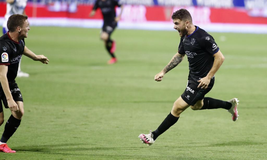 Galán celebra su gol ante el Zaragoza.