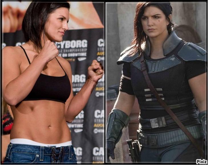 Gina Carano como luchadora de MMA y en su papel de Cara Dune en The...