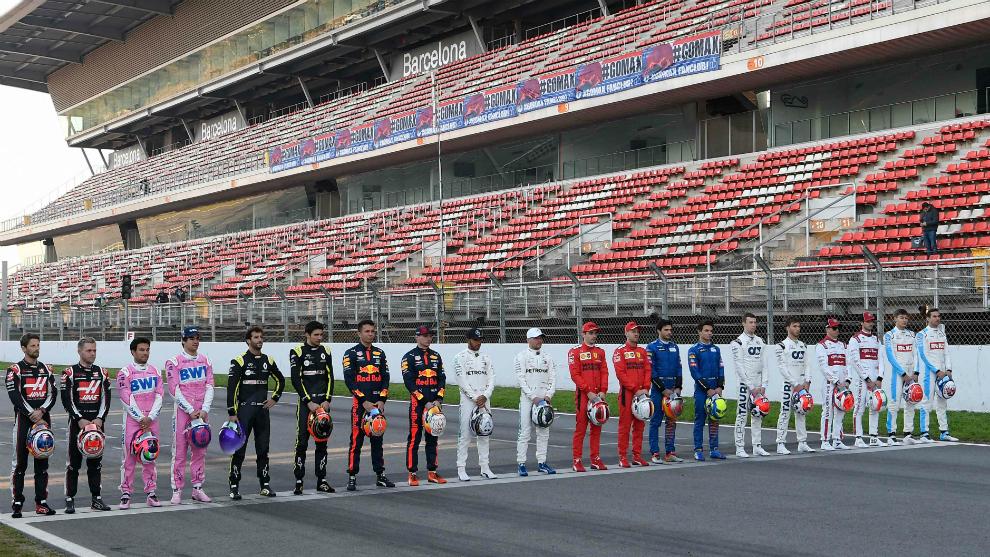 Los pilotos de la F1, en Montmeló.