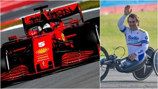 El Ferrari de Sebastian Vettel y Alessandro Zanardi.