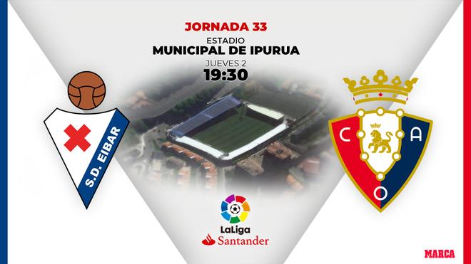 Eibar vs Osasuna | Jueves 2 de julio | 19:30 horas.
