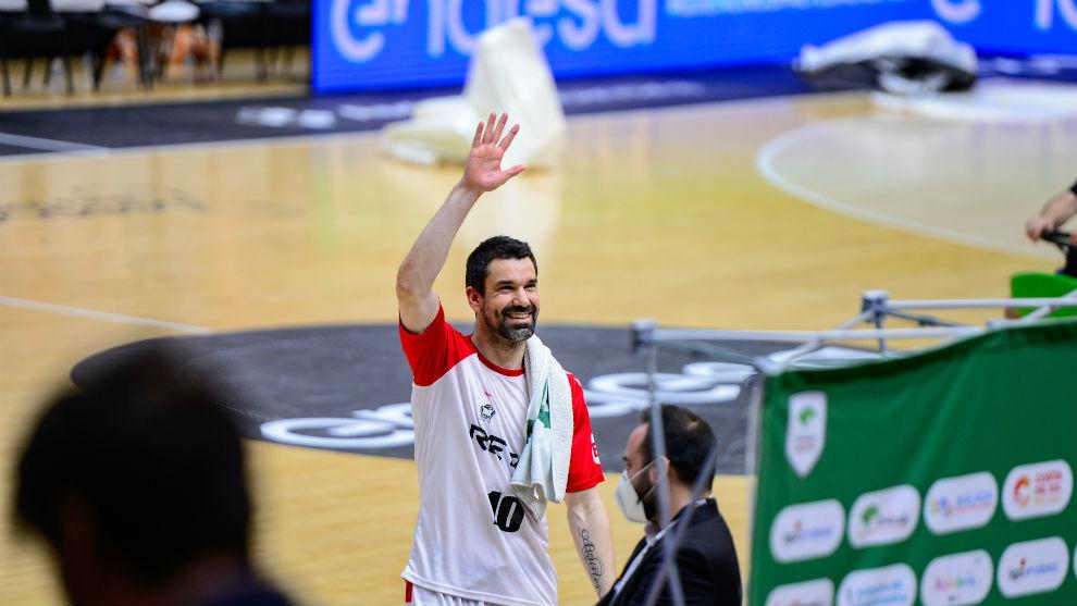 Rafa Martínez tras jugar su último partido con el Bilbao Básket en...