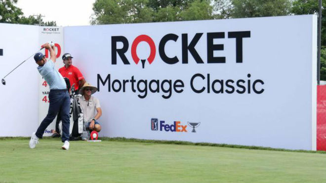 Jason Day, en la jornada de entrenamientos del Rocket Mortgage...