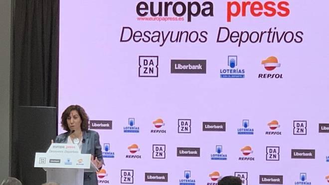 Irene Lozano, durante los Desayunos Deportivos de Europa Press