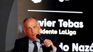 El presidente de LaLiga, Javier Tebas, habla en un acto.