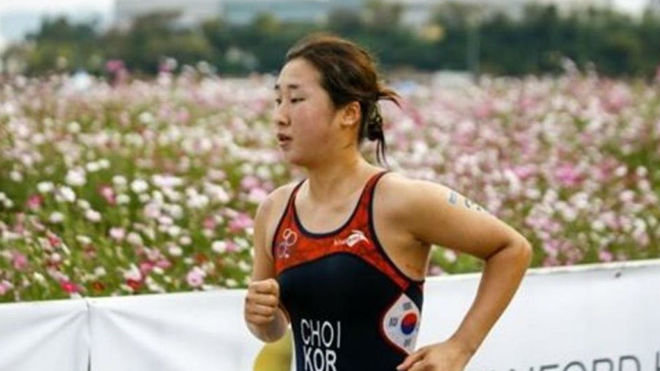 Choi Suk-hyeon, en una competición con la selección de Corea del...
