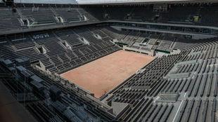 Una vista aérea de la pista Philippe Chatrier de París