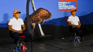 Norris y Sainz, durante la rueda de prensa del GP de Austria.