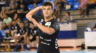 Ander Torriko, durante un partido con el Sinfín /