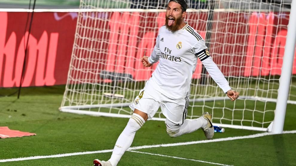 Sergio Ramos celebrates his winning penalty.