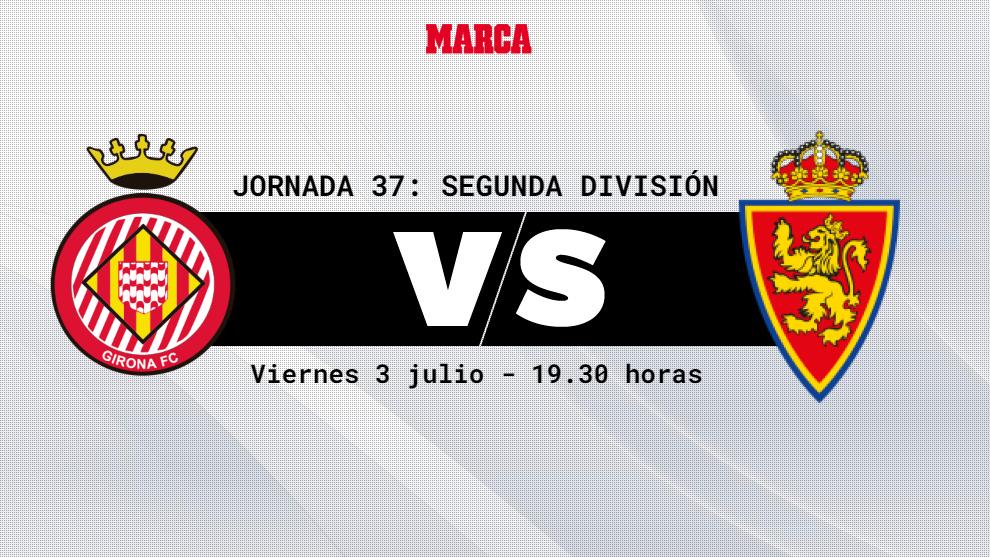 Girona - Zaragoza: horario y donde ver en television  hoy el partido...