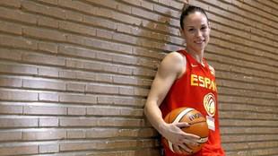 Nuria Martínez, durante una concentración con la selección...