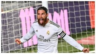 Sergio Ramos celebra el gol con el que el Madrid derrotó al Getafe.