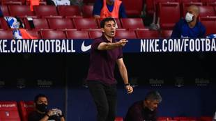Asier Garitano dando órdenes en el Wanda Metropolitano
