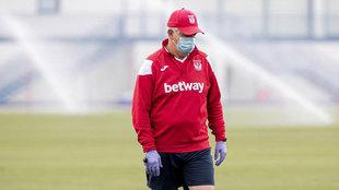 Javier Aguirre, en un entrenamiento.
