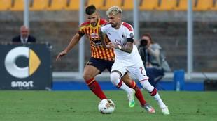 Samu Castillejo en el partido ante el Lecce