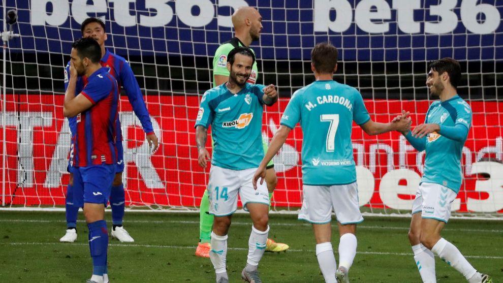 Rubén García celebra uno de los dos goles ante el Eibar