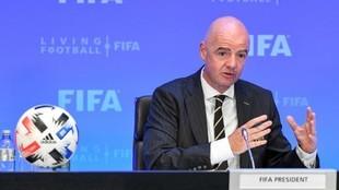 Infantino, presidente de la FIFA, en una rueda de prensa.