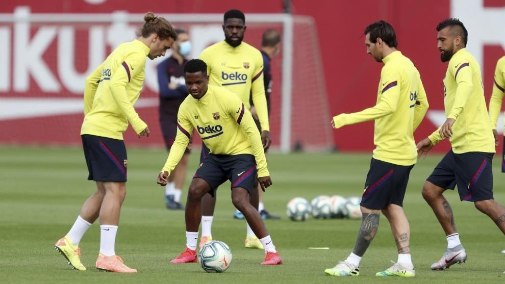 Varios jugadores del Barça en una sesión.