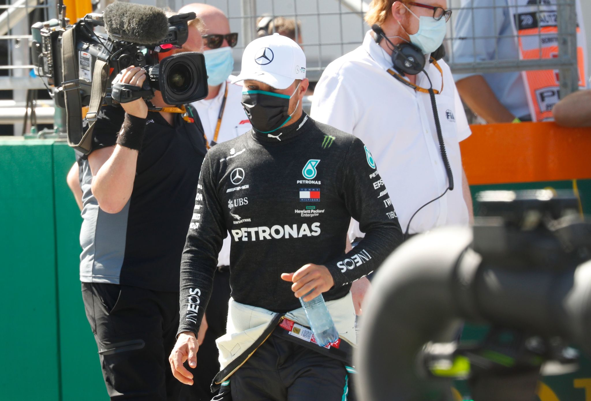 Mercedes Finnish driver Valtteri Bottas reacts after the qualifying round at the Austrian Formula One Grand Prix on July 4, 2020 in lt;HIT gt;Spielberg lt;/HIT gt;, Austria. - Seven months after they last competed in earnest, the Formula One circus will push a post-lockdown 're-set' button to open the 2020 season in Austria on July 5. (Photo by LEONHARD FOEGER / POOL / AFP)