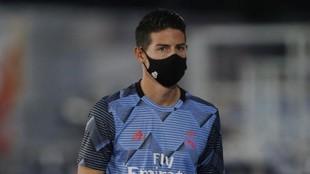 James, durante un partido del Madrid en el Di Stéfano