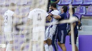 Joaquín celebra el gol con sus compañeros.