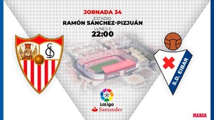 Sevilla Eibar horario donde ver en television hoy partido de futbol...