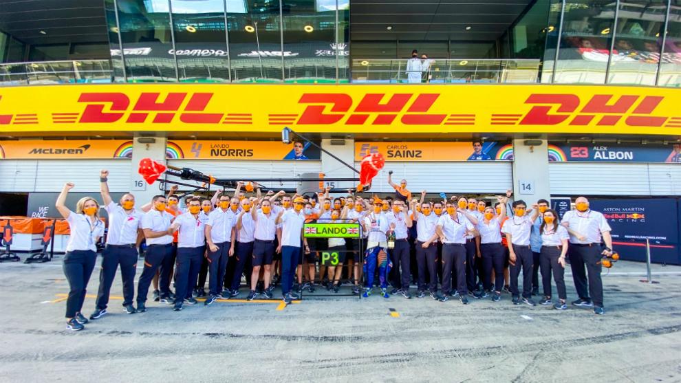 McLaren, celebrando el podio de Austria.
