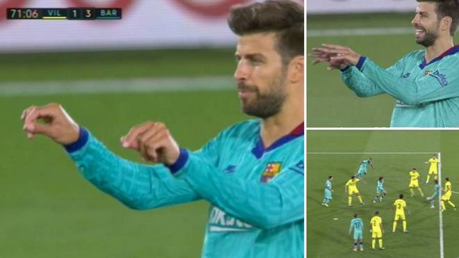 Pique's intriguing VAR gesture against Villarreal: What was it?