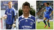 Manuel Neuer, Mesut Özil y Leroy Sané, con la camiseta del Schalke.