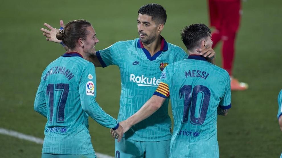 Griezmann, Luis Suárez y Messi.