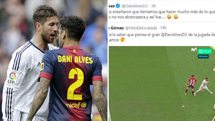 """El recadito de Alves en Twitter tras el pisotón de Sergio Ramos: """"Un día nos enseñaron que..."""""""