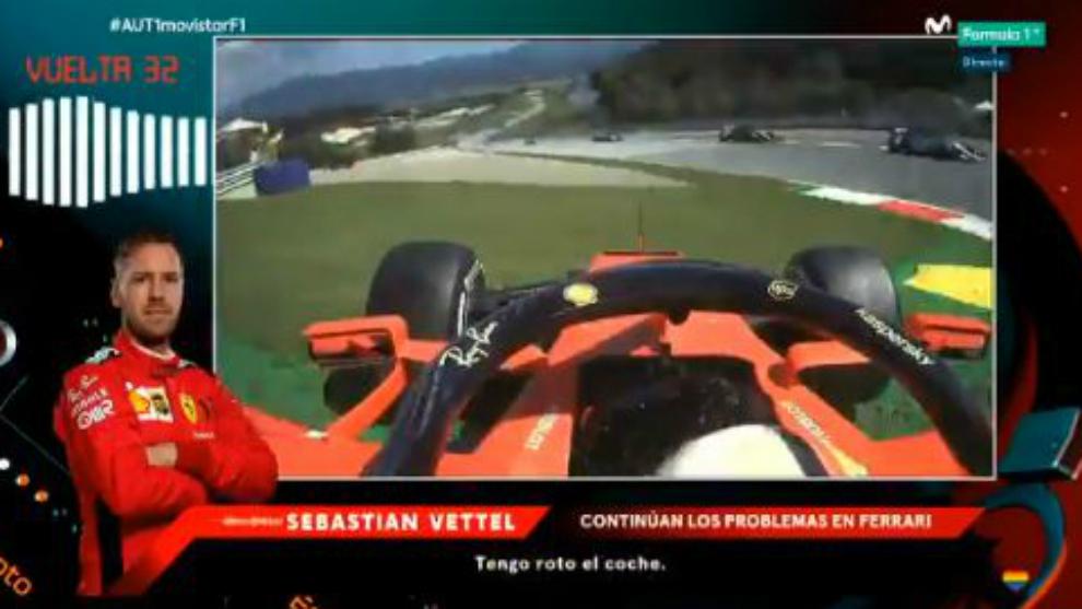 Momento en el que Vettel avisaba de que tenía roto el coche.
