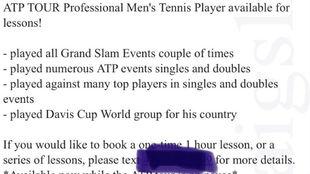 El anuncio de un tenista en Los Ángeles