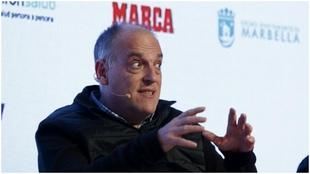 El presidente de LaLiga, Javier Tebas, durante un foro organizado por...