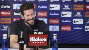 Simeone, en una rueda de prensa