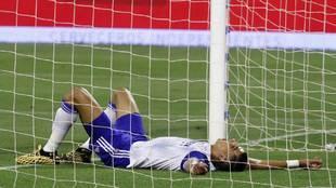 El Yamiq, jugador del Zaragoza, en el terreno de juego
