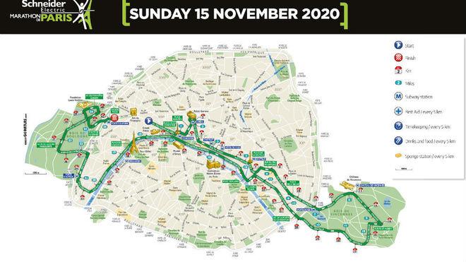Plano del recorrido del maratón de París 2020.