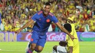 Frank Fabra celebra un gol en un partido previo al Mundial 2018.