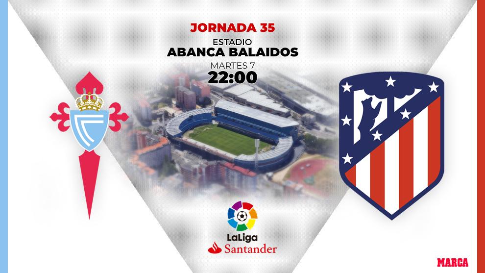 Celta - Atlético: El Celta con cinco defensas y el Atlético con Correa en ataque