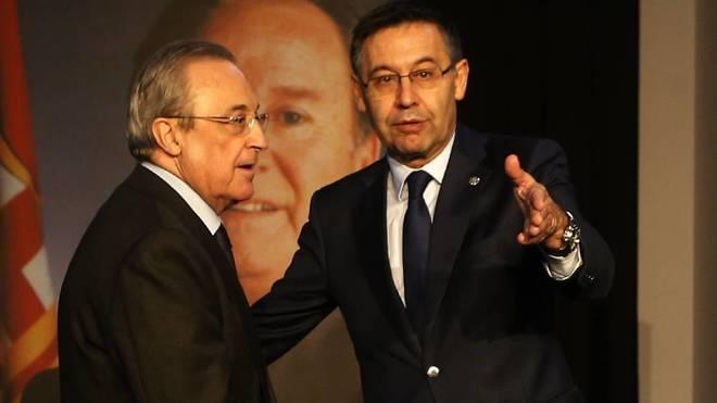 Florentino Pérez y Josep Maria Bartomeu, en el homenaje a Núñez