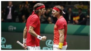 Feliciano López y Rafa Nadal, en el dobles de la última Copa Davis.