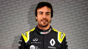 Fernando Alonso, vestido de Renault.