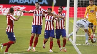 Morata celebrates against Celta.