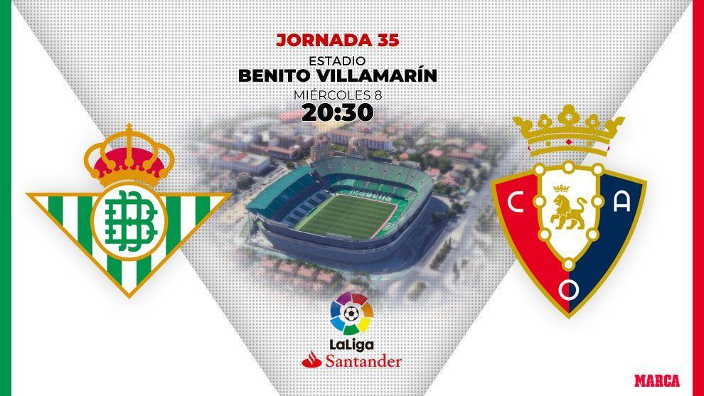 Betis - Osasuna: 8 de julio a las 20.30 horas.