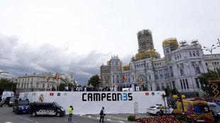 La Plaza de las Cibeles, preparada para la celebración en 2018